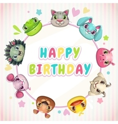 Cute childish Birthday card template vector image vector image