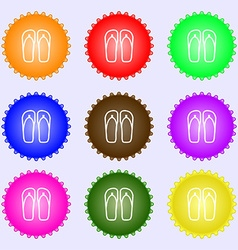 Flip-flops Beach shoes Sand sandals icon sign Big vector image