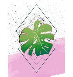 geometric poster monstera art deco and memphis vector image