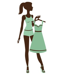 Pretty girl getting dressed vector image