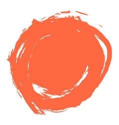 Red brush stroke circle shape vector