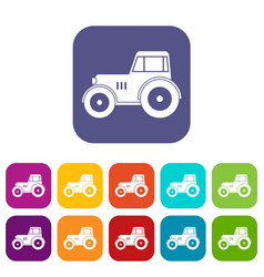 tractor icons set flat vector image