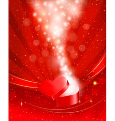 Valentines day background with open red gift box vector image vector image