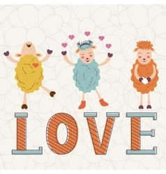 Cute Valentines day card with word love and cute vector image vector image