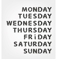 Days of week made from photo frames vector image vector image
