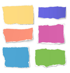 Set of colour paper tears isolated on white vector