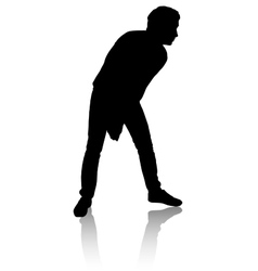 Silhouette of a man who plays volleyball vector image vector image