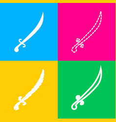 sword sign four styles of icon on vector image