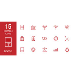 15 decor icons vector image