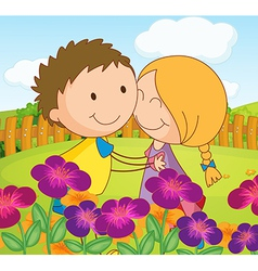 A couple dating at a garden in the hilltop vector image