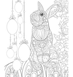 Adult coloring bookpage a cute easter rabbit with vector