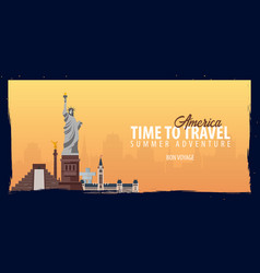 america banner time to travel journey trip and vector image