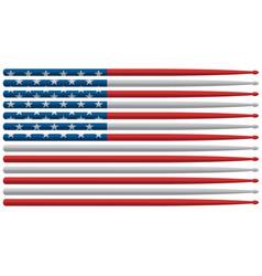 american drummer drum sticks flag vector image