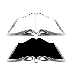 an open book on table simple black outlines vector image