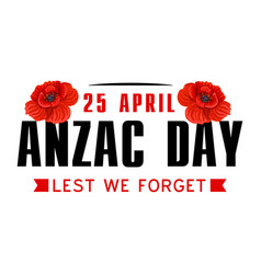 Anzac poppy flower icon for world war memorial day vector