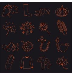 autumn outline icons on black background set eps10 vector image