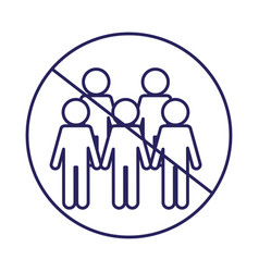 Ban on gathering people line style icon vector