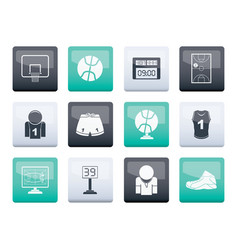 basketball and sport icons over color background vector image
