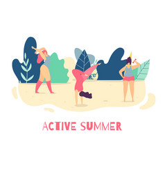 be active in summer motivational woman flat banner vector image