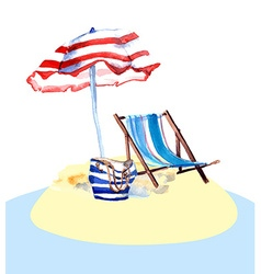 Beach chair on island vector image