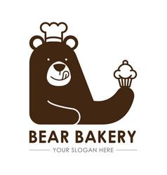 Bear bakery logo template vector
