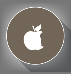 Bited apple sign white icon on brown vector