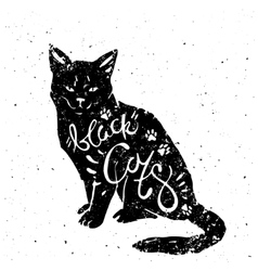 black cat with typography vector image vector image