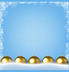 Blue poster with winter border with golden vector