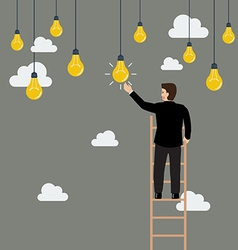 Businessman on the ladder catching a light bulb vector image