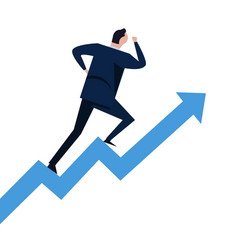 businessman running on steps growth chart going up vector image