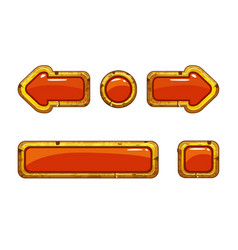 cartoon gold old red buttons for game or web vector image