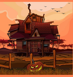 cartoon house at sunset with a halloween pumpkin vector image