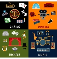 Casino music cinema and theater icons vector