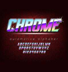 Chrome bold automotive typeface vector