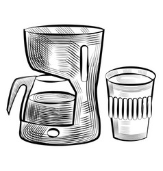 Coffee making machine and plastic cup monochrome vector
