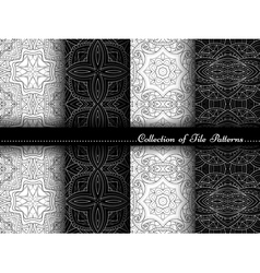 collection black and white seamless pattern vector image