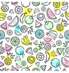 colorful sketch mixed tropical fruits seamless vector image