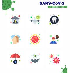 coronavirus awareness icon 9 flat color icons vector image