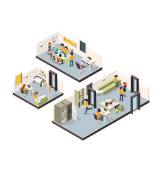 coworking isometric corporate office interior vector image