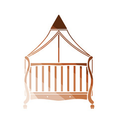 Crib with canopy icon vector