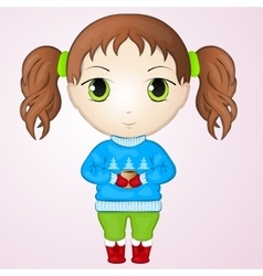 Cute anime chibi little girl wearing sweater and vector