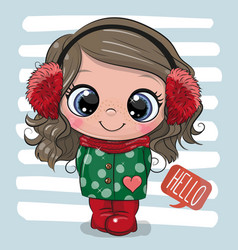 cute girl in a coat and fur headphones vector image