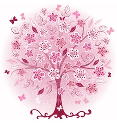 decorative pink spring tree vector image