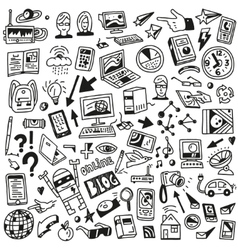 Devices computers technology - doodles set vector