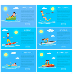 Donut ride and kitesurfing set vector