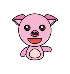 draw piggy animal comic vector image