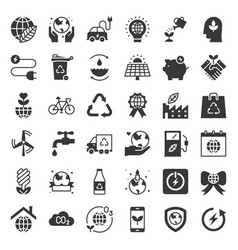 Earth day and ecology icon solid icon set vector