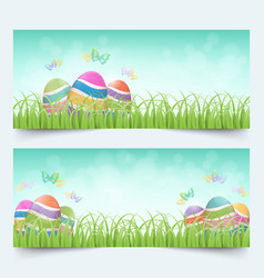 easter eggs grass banners set vector image