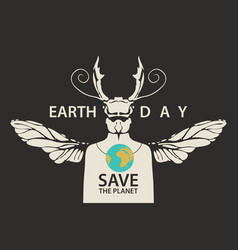 Eco poster concept save planet with a beetle vector
