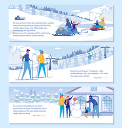 Family ski resort hotel advertising set vector